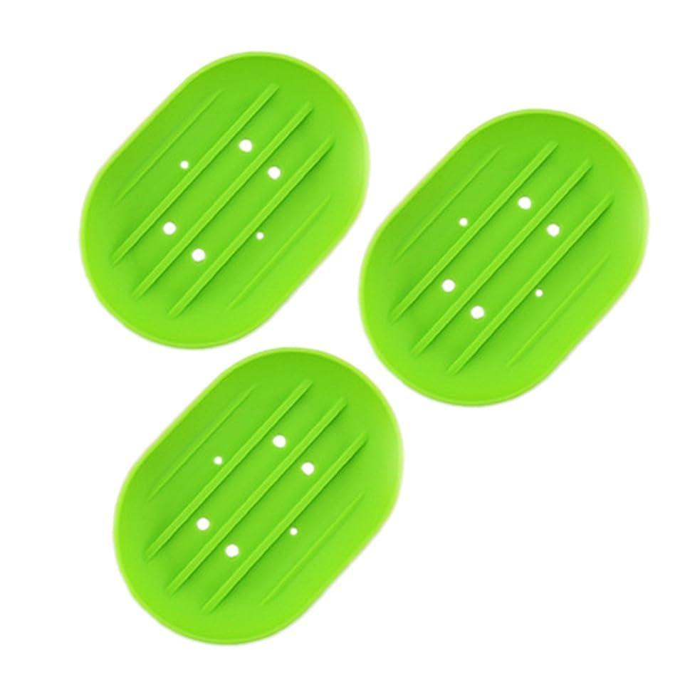 固める若い半導体BESTOMZ ソープディッシュソープホルダー, 石鹸トレイ乾燥石鹸バー 浴室用キッチン用3連グリーン用