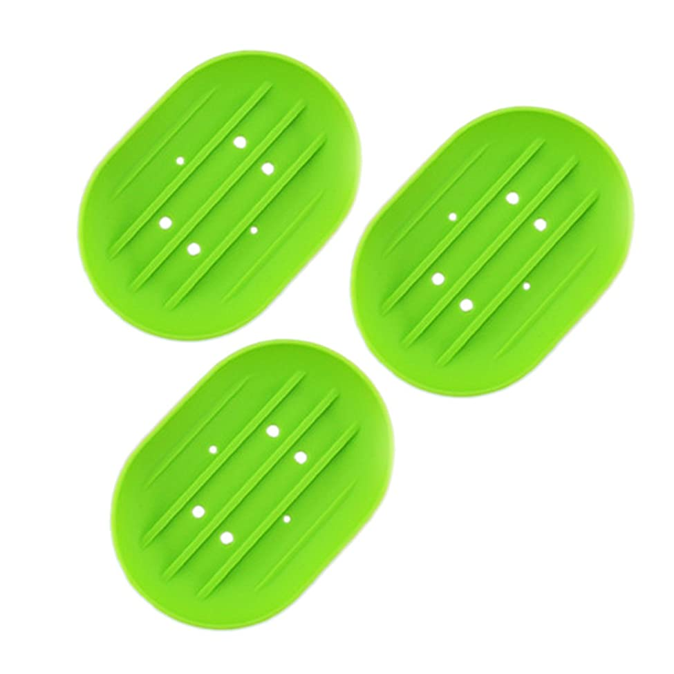 象標準迫害BESTOMZ ソープディッシュソープホルダー, 石鹸トレイ乾燥石鹸バー 浴室用キッチン用3連グリーン用