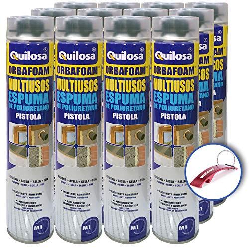 Espuma de Poliuretano Orbafoam Quilosa para Pistola (Caja de 12 Unidades) + Llavero Destapador Bricolemar de Regalo!