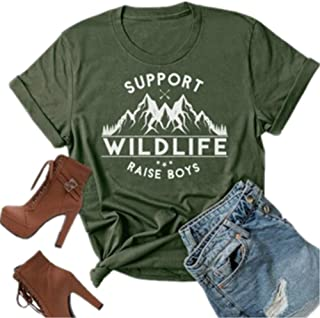 Support Wildlife Raise Boys Mountain Graphic Mom T Shirt Women Letter Print Casual Tees Short Mom Life Tops
