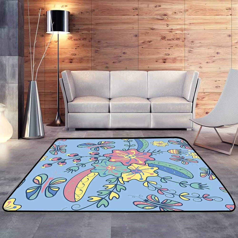 Carpet mat, Vector Flower Bouquet Butterflies berriesW 35  x L59 Floor Mat Entrance Doormat