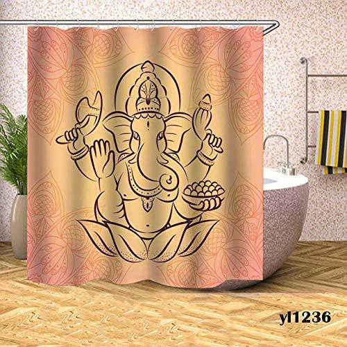 ZJMKFJL douchegordijn, polyester gordijn, badkameraccessoires, waterdicht en schimmelbestendig, met haak, scheidingsgordijn, olifant patroon