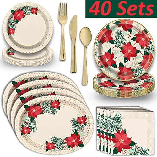 Holiday Poinsettia Dinnerware w/Shiny Gold Trim - 40 Servings - Dinner Plates, Dessert Plates, Napkins, 8 Oval Serving Trays, Gold Plastic Cutlery - for Elegant Christmas Parties