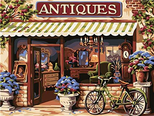 SKYTY Fai da Te Pittura A Olio Digitale - Dipinto con Numeri Negozio di Antiquariato Bicicletta Vernice Acrilica Regalo di Natale per Bambini Adulti con Cornice 40x50cm