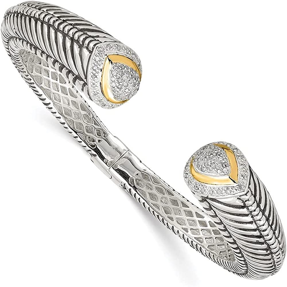 925 Sterling Silver Sterling Silver w/1/2ct. Diamond Hinged Cuff