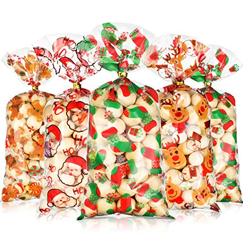 Blulu 120 Pieces Christmas Plastic Bags Christmas Cellophane Holiday Treat Bags Xmas Santa Socks Elf Candy Bags with 200 Pieces Gold and Silver Twist Ties Decor (4 Patterns)