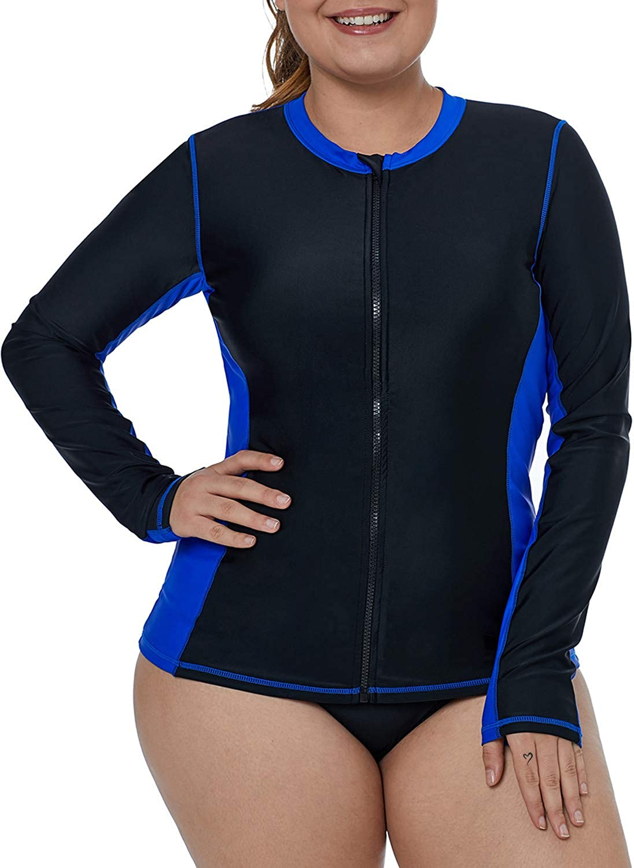 Aleumdr Womens Long Sleeve Rashguard Swimsuit Zip Front Color Block Print Tankini Swimsuit No Bottom Plus Size