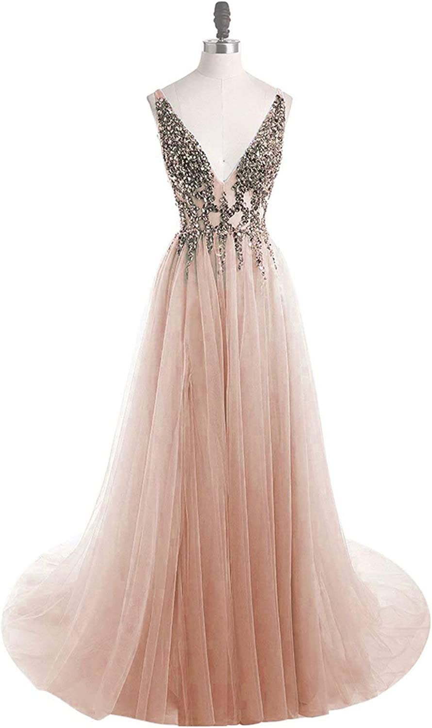 Vimans Deep V Neck Tulle Prom Dresses 2019 Long Sequined Formal Evening Gown P02