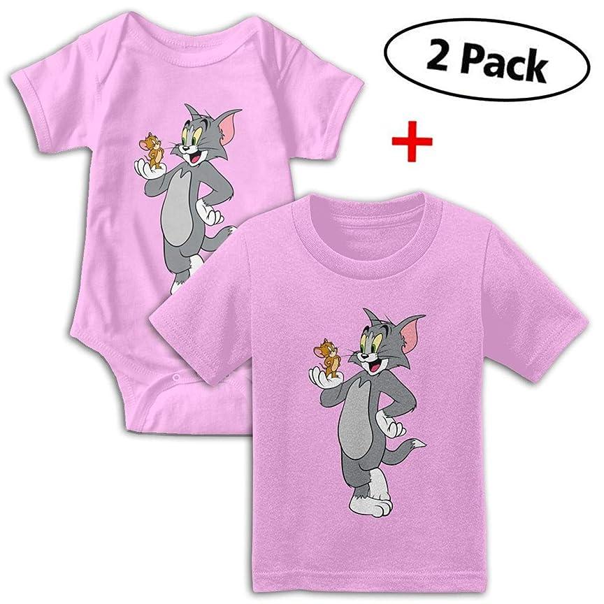 立方体行列データFawgawv トムとジェリー Tシャツ ロンパース 無地 キッズ 半袖 セット 夏 かわいい 新生児服 肌着 綿