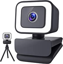 1080P Webcam with Microphone for Desktop, 2021 Upgraded FHD 30fps Streaming Webcam with Light and Tripod, USB Web Camera f...