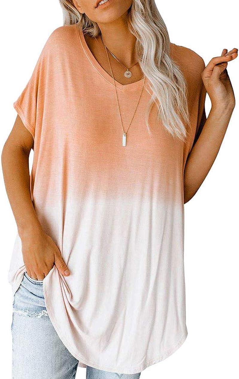 Fanyarie Women's Short Sleeve V-Neck Loose Casual Tunic Tee T-Shirt Gradient Tops