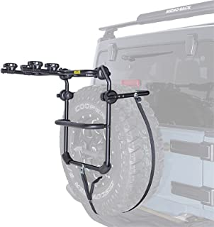 Rhino-Rack USA, RBC025, Spare Wheel Bike Carrier, 2 Bike Capacity - Fold Down - Incl. 2 Tie Down Straps - Rear Spare Tire Mount