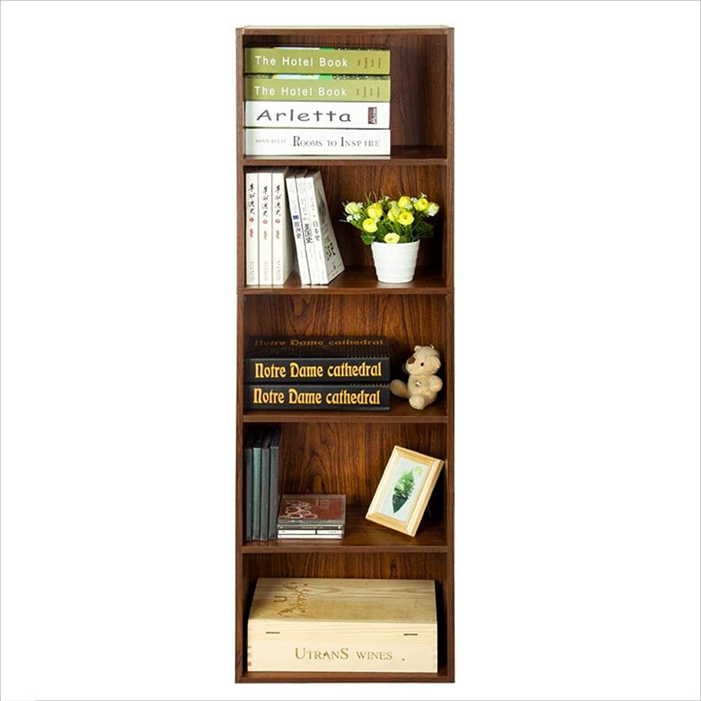QARYYQ Bücherregal Home 5-lagiges Kombinations-Bücherregal Magazin Datenspeicher Lagerregal Braun 40x24x132cm Bücherstand