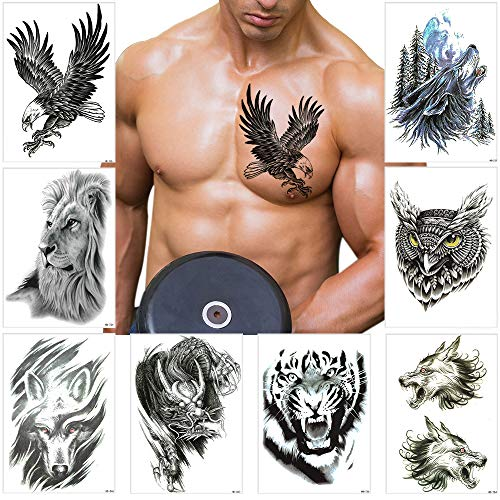 Temporary Tattoo Stickers Large Tribal Totem Eagle Owl Wolf Tiger Dragon Lion Pattern Waterproof for Men Women Body Half Arm Shoulder Chest (Pattern 3)