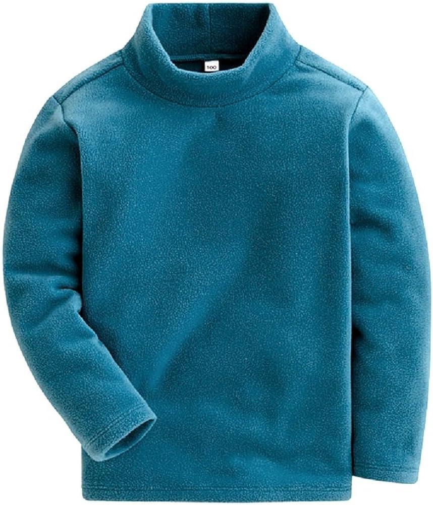 Mud Kingdom Kids Fleece Shirts High Collar Soft Tops Unisex