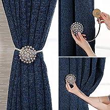 Magnetic Curtain Tie backs Clips-Window Tie Backs European curtain Clasp Diamond Magnet Button, Powerful Curtain Magnet Bu...