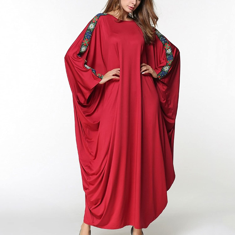 Kleid der Frau damen Dress Plus Größe Vintage Lange Kleider Sommer Reine Farbe Splice Fledermaus Ärmel große Größe Kleidung täglich tragen B07CCMYY5T  Luxus