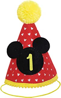 Mickey Party Hat | First Birthday Outfit Boy Mickey Mouse Party Hats Cake Smash Outfit | 1st Birthday Outfit | Party Hat | Cake Smash Cake Photoshoot Photoprop (First Birthday Hat, Elastic Strap)