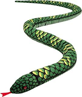 HollyHOME Plush Giant Snake Realistic Stuffed Animal Red Eyes Toy Gifts for Kids 110 Inches Green