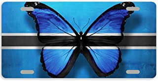Artsbaba License PLate Botswana Flag Butterfly Metal Car Tag Auto Tag License Plate Cover With 4 Holes 12 x 6 Inches