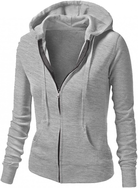 Women Hoodies Sweatshirt Full Zipper Long Sleeve Soild Drawstring Shirt Crop Pullover Top Blouse with Pocket