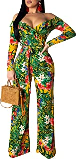 kaimimei Womens One Shoulder Ruffled Collar Floral Print Jumpsuits Long Sleeve Sexy Wide Leg Rompers with Belt