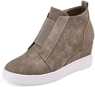 Women's Heel Platform Casual Sneakers Zipper Wedge High Top Sports Shoes