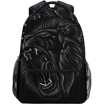 ALAZA Hand Drawn Black Lion Roaring Large Backpack Laptop iPad Tablet Travel School Bag w/Multiple Pockets for Men Women College