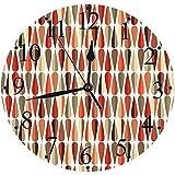 Orologio Silenzioso, Alimentato a Batteria,retrò, Design Anni '60 Anni '70 in Stile Geometrico a Forma Rotonda con Stampa a c,Tondo Silenzioso Preciso Wall Clock Decorazione per Casa, Ufficio