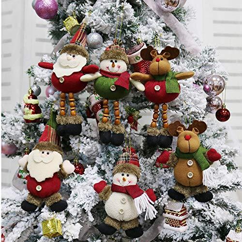 CDJX Adornos de Peluche de árbol de Navidad,6 Piezas 8 Pulgadas Decoración Colgante de Navidad Papá Noel Muñeco de Nieve Muñeca de Reno para árbol de Navidad,Colgante de árbol de Navidad