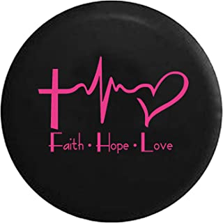Faith Hope Love Cross Heart EKG Jesus Religious Spare Tire Cover fits SUV Camper RV Accessories Pink Ink 32 in