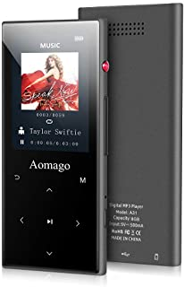 MP3 Player, Aomago 16GB Mp3 Player with Bluetooth 4.2, Built-in Speaker, HiFi Lossless Sound Music Player with FM Radio,On...