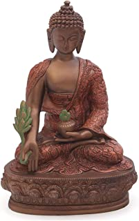 Buddha Groove Statue of Healing Medicine Buddha Holding The Bowl of Healing Elixirs | Cast Stone Construction with Hand-Painted Bronze and Rust Tones | 12