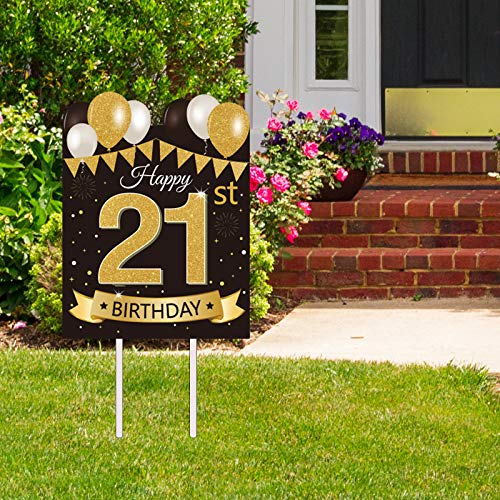 Large Happy 21st Birthday Party Yard Sign Black Gold 21 Birthday Yard Signs with Stakes and Outdoor Lawn Decorations