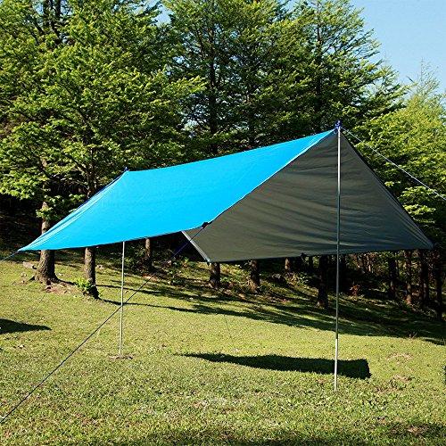 Esoes Sun shade Tarpaulin - 3m x 3m Waterproof Lightweight Snowproof Tarp Beach Tent Hammock Fly Sunshade for Camping Garden Hiking Easy Setup - Outdoor Picnic Mat (Blue)