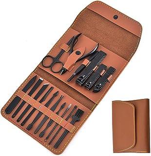 YamaziHD 16 piezas Set de manicura con funda plegable de piel sintética, kits de herramientas de cuidado personal, juego d...