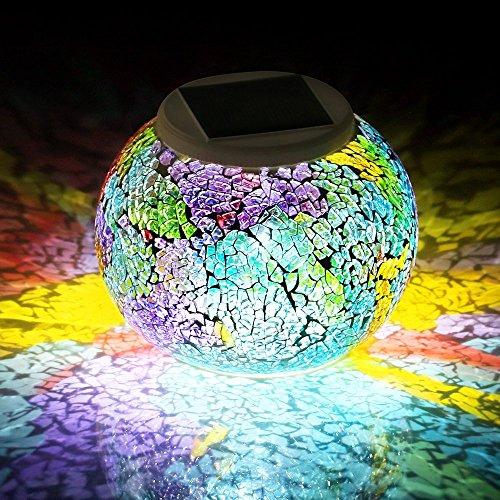 Lámpara Solar Mosaico GRDE Jarrón Decorativo Con Mosaico Colorido, Lámpara de Mesita de Noche, Iluminación Nocturna Romántica Para Salón, Jardín, Habitación, Terraza, Comedor (Mosaico)