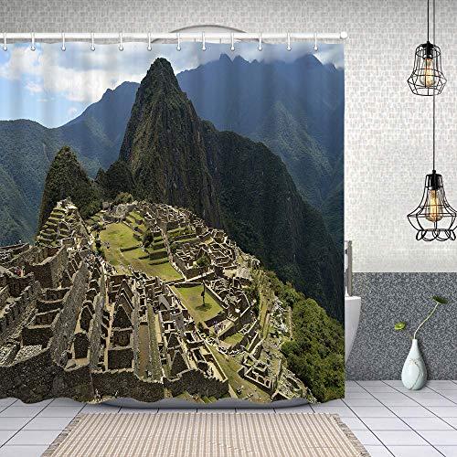 Cortina Baño,Perú Cusco Machu Picchu Vista de la ciudadela de Machu Picchu y Sus montañas,Cortina de Ducha Tela de Poliéster Resistente Al Agua Cortinas de Ducha Baño con 12 Ganchos,180x180cm
