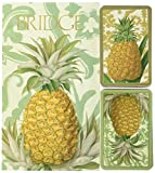 Entertaining with Caspari Bridge Playing Card Gift Set, Royal Pineapple, 3 Set (GS114)