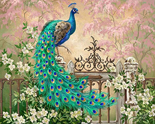 DIY Paint by Numbers Kit for Adults - Peacock Green Blue Paint by Numbers Landscape Scene Paintings Arts Craft for Home Wall Decor | Pre-Printed Art-Quality Canvas, 3 Brushes, 24 Acrylic Paints 20x16
