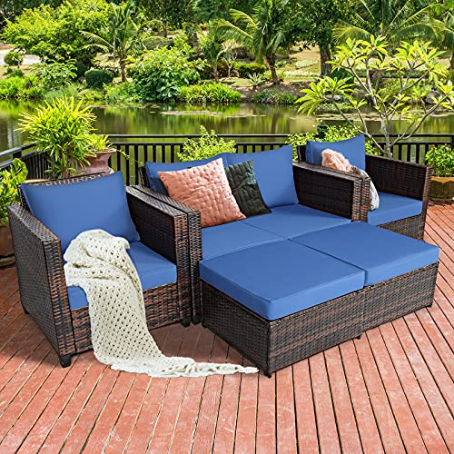 Tangkula 5 Pieces Patio Furniture Set, Outdoor Rattan Sofa Set w/Removable Cushions, Wicker Loveseat w/Single Sofa & Ottoman, Sectional Sofa Conversation Set for Yard, Garden, Poolside (Blue)
