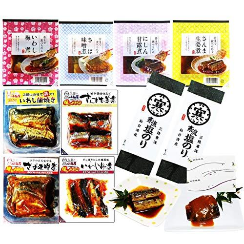 【お中元ギフト】仙台漬魚の骨までやわらか炊きの煮魚と焼のり5種10Pセット