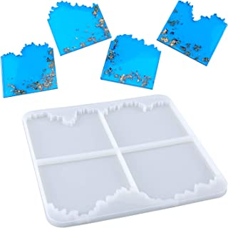 LUTER Hars Onderzetters Schimmel DIY Vierkante Coaster Siliconen Mal Voor het Maken van Agate Slice Coasters, Bekers Matte...