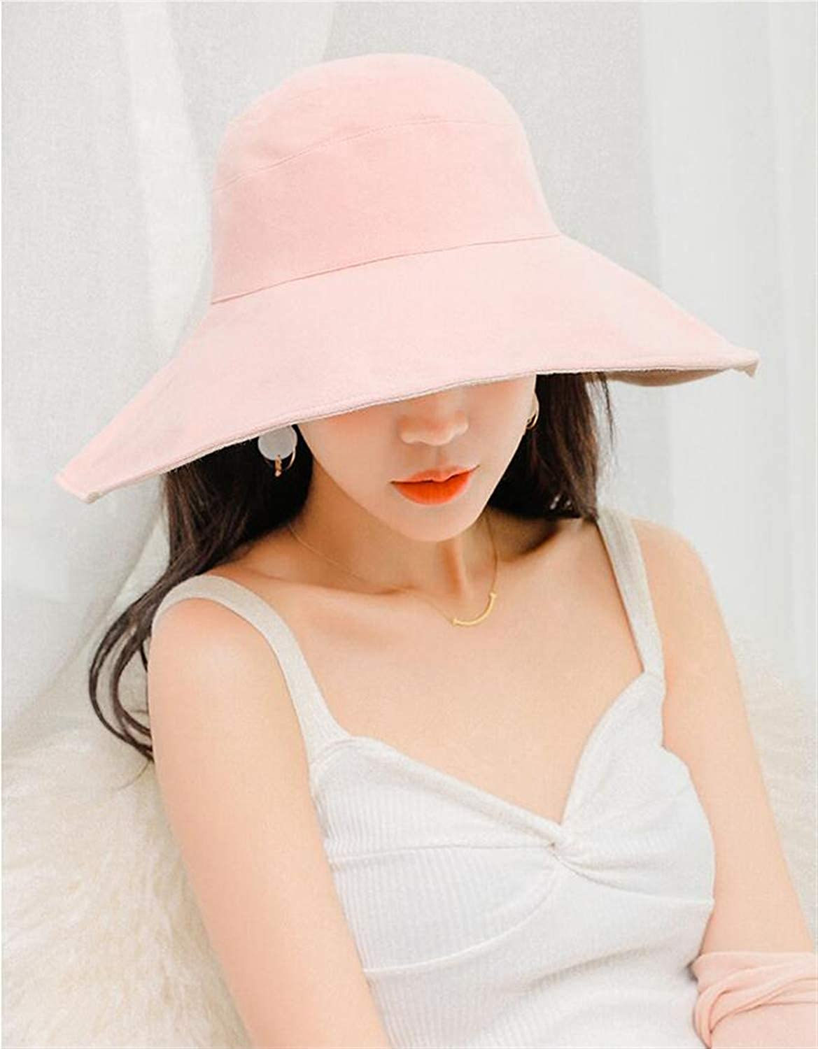 Women Sun Hat Wide Brim Natural Cotton Hat Fashion Solid color Beach Hats Floppy Fold Spring Summer Hats for Women Girls