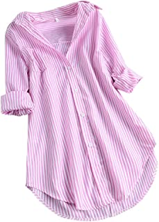 Women Long Sleeves Shirt ❀ Ladies Chic Stripe Turn-down Collar Button Loose Top Shirts Blouse Solid Casual Long Tunic Tops