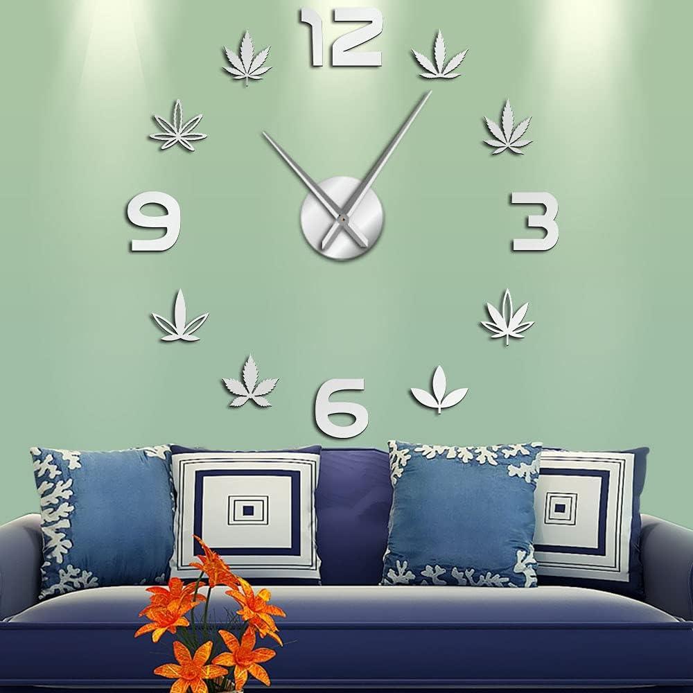 Weed Ranking TOP3 Leaf DIY Large Wall Marijuana Silent Frameless Clocks Daily bargain sale