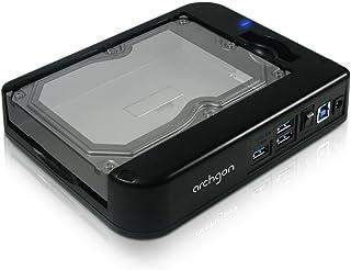 Archgon Unity II MH-3507HUB-UA3 - Base dock para discos duros con conexión SATA (diseño horizontal, aplilable, 3 puertos USB 3.0), color negro