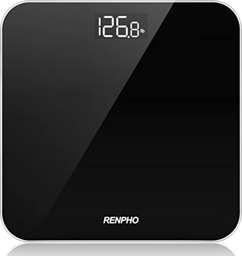 RENPHO Digital Bathroom Scale, Highly Accurate Body Weight Scale with Round Corner Design, Lighted LED Display, 400 l...