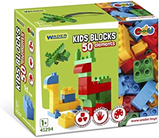 Wader 41294 Kids Building Blocks, 50 Pieces, in Different Shapes and Bright Colours, Includes Attractive and Practical Box...