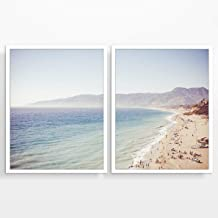 Vintage Malibu Beach Photography Prints, Set of 2, Unframed, Coastal Wall Decor, Nautical Decor, Fine Art Photography, Seascape Wall Art, Mountain Landscape, 8x10
